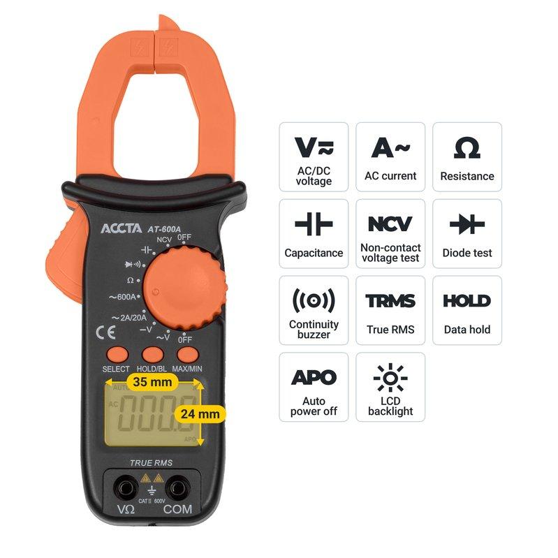 Струмовимірювальні кліщі Accta AT-600A Зображення 9