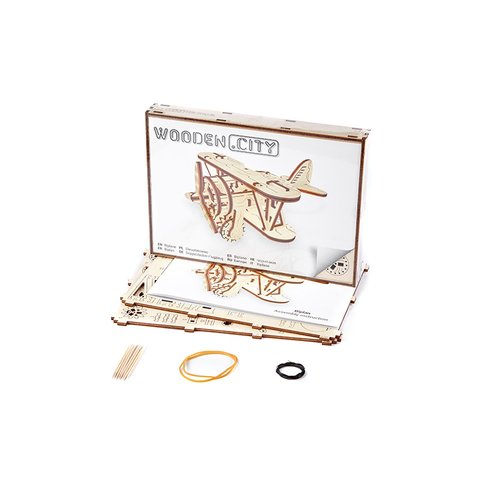 Mechanical 3D Puzzle Wooden.City Biplane - /*Photo|product*/